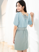 單一優惠價[H2O]後面綁帶蕾絲拼接針織布上衣 - 白/粉/淺藍色 #0671008