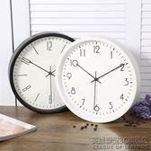 北歐簡約時鐘現代家庭靜音掛鐘客廳臥室時尚家居掛錶金屬石英鐘圓