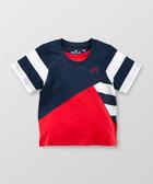 Hallmark Babies 男童純棉假兩件拼色拼接條紋短袖上衣 HD1-R16-03-KB-PN