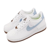 Nike 休閒鞋 Force 1 LV8 GS 白 藍 植物刺繡 女鞋 大童鞋【ACS】 DA3093-100