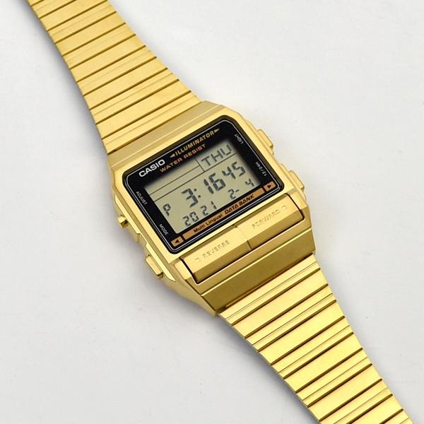 CASIO手錶 街頭潮流金色不鏽鋼錶NECE35