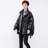 羽絨夾克-白鴨絨-不規則立領寬鬆抽帶女外套73zc47【時尚巴黎】