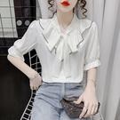 短版上衣~#韓版輕熟風純色V領短袖綁帶雪紡衫寬松小衫上衣GD616D日韓屋