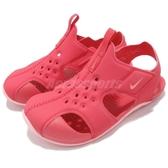Nike 涼鞋 Sunray Protect 2 TD 紅 粉紅 運動鞋 魔鬼氈 小朋友 小童鞋【PUMP306】 943829-600