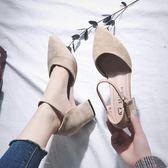 涼鞋 2018夏季女鞋新款韓版一字扣中跟復古絨面鞋子粗跟包頭