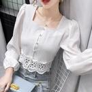 限時特價 蕾絲襯衫女新款秋季氣質設計感襯衣長袖短款方領心機鎖骨上衣