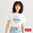 Levis 女款 短袖學院T恤 / 中短版方正寬袖版型 / 復古花草Logo