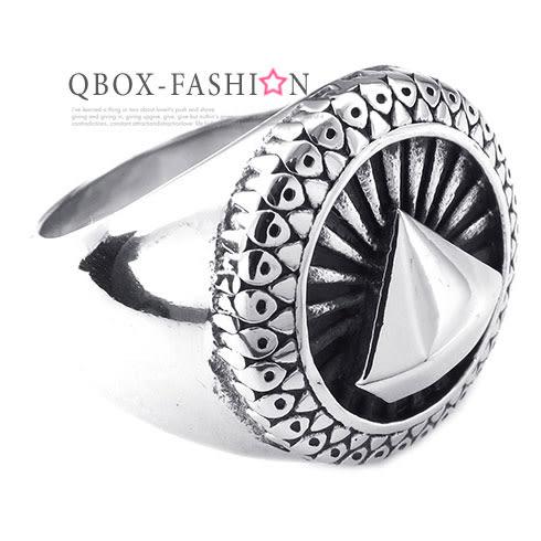 《 QBOX 》FASHION 飾品【W10025239】精緻個性招財穩鑽久久寶石鑄造鈦鋼戒指/戒環