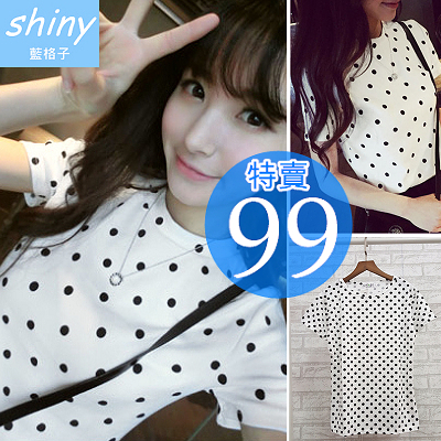 【D918】shiny藍格子-簡約甜美.清新可愛波點圓領短袖T恤