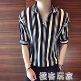 短袖襯衫 條紋短袖t恤男韓版潮流5五分袖寬鬆7七分半袖襯衫網紅體恤上衣服 極客玩家