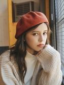 邪惡先生立體加厚日系羊毛呢貝雷帽子女秋冬文藝潮搭純色畫家帽 星期八