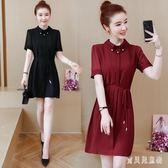 大尺碼OL洋裝 時尚連身裙夏季新款胖mm顯瘦短袖氣質中長款襯衫裙子 mj13423『寶貝兒童裝』
