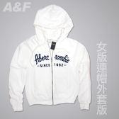 丁果、A F ►美國Abercrombie Fitch 商標圖案刷毛連帽外套白色
