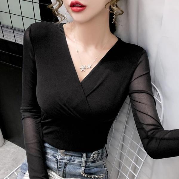 2020年秋冬新款時尚交叉v領高彈網紗長袖歐貨修身顯瘦t恤打底衫女