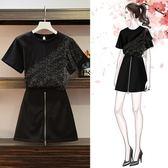 短t短裙套裝XL-5XL中大尺碼7502新款時尚洋氣顯瘦T恤衫裙褲兩件套F4082