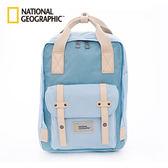 國家地理National Geographic 旅人潮流白提把中型後背包-天空藍
