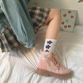 雪靴 粉色馬丁靴子女2020新款秋季百搭英倫風秋款機車靴短筒春秋單靴女