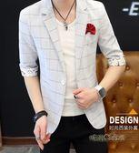 男士中袖小西裝夏季款韓版修身理發師夜店薄款格子西服七分袖外套 「時尚彩虹屋」