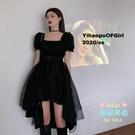 方領洋裝 方領短裙夏季2020年新款大擺小黑裙仙女裙子法式網紗洋裝