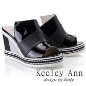 ★2018春夏★Keeley Ann漆皮質感~拼接寬帶風編織滾邊真皮楔形拖鞋(黑色)-Ann系列