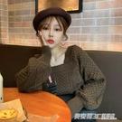 針織衫上衣秋冬新款時尚網紅韓版寬鬆方領套頭學生百搭毛衣女 英賽爾
