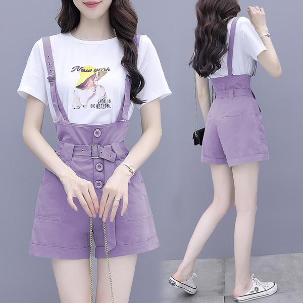 超殺29折 韓國風紫色氣質時尚背帶短褲套裝短袖褲裝