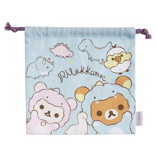 小禮堂 懶懶熊 日製 棉質束口袋 旅行收納袋 小物收納袋 (藍 恐龍裝) 4974413-76716