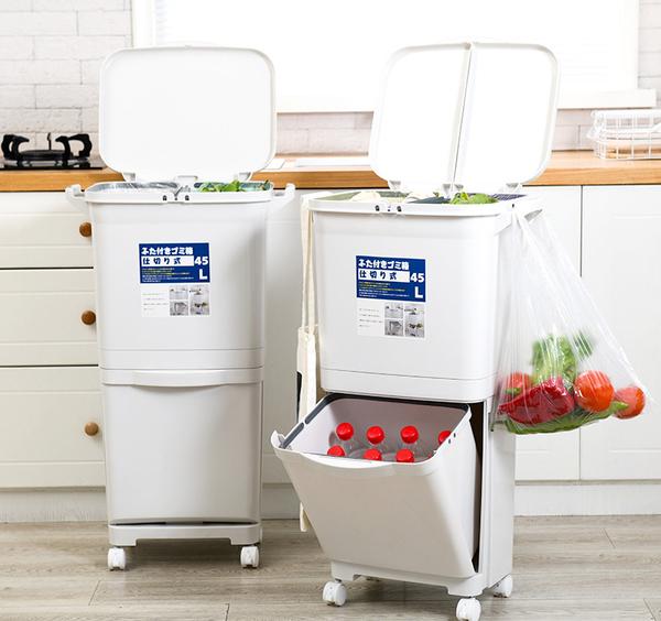 日式雙層分類垃圾桶45L【JL精品工坊】回收桶 垃圾桶 腳踏桶 分類回收桶 掀蓋垃圾桶