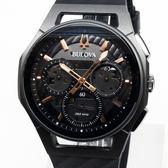 [萬年鐘錶]  BULOVA寶路華 曲面設計 三眼 計時碼錶 灰錶面 槍管灰殼 黑橡膠帶 男錶 98A162