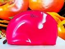 Dior 迪奧 半月形粉紅色皮革化妝包 約17* 12* 6cm 【全新百貨專櫃貨】