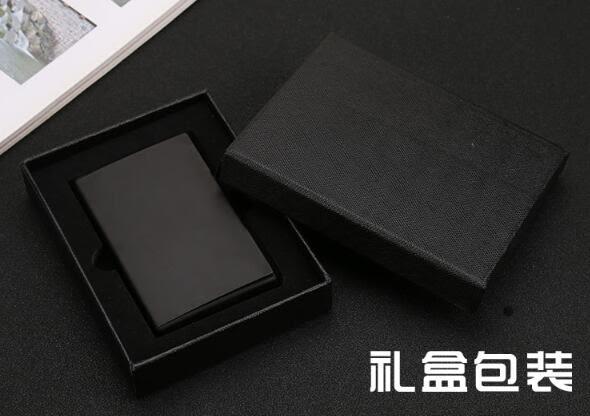 黑鈦金屬名片盒商務男士名片夾辦公大容量創意女隨身名片盒【快速出貨】