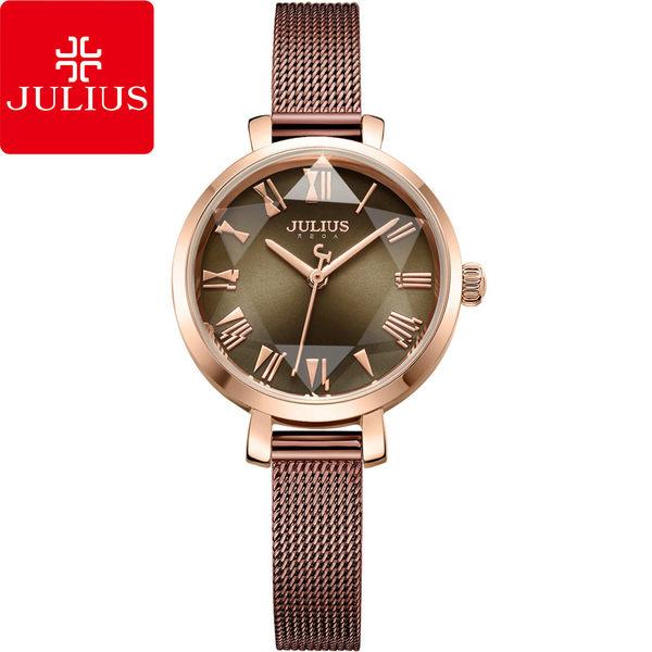 JULIUS 聚利時 米蘭風尚立體切割鏡面腕錶-復古棕/26mm【JA-1019E】