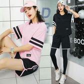 健身服女春夏季跑步運動套裝健身房時尚寬鬆性感專業瑜伽服女 免運