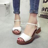 夏季新款大碼牛筋女士涼鞋歐美魚嘴低跟一字涼鞋女扣帶女鞋子『伊莎公主』