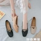 2020韓版夏季新款復古奶奶鞋淺口百搭平底單鞋女鞋一腳蹬豆豆鞋女  自由角落