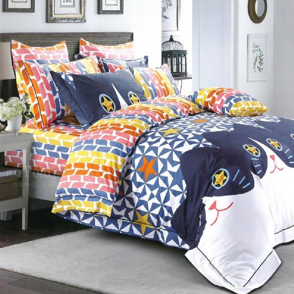 【R.Q.POLO】旋風星喵 精梳棉-兩用被床包四件組(雙人加大6X6.2尺)