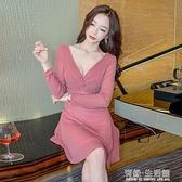 性感洋裝女秋裝20新款赫本風小黑裙大碼遮肚子長袖低胸夜場短裙 雙十二全館免運