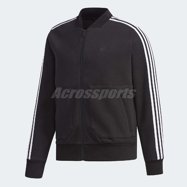adidas 運動外套 EI TT JAQ Bomb 黑 白 三條線 飛行夾克 基本款 男款 【ACS】 DT2474