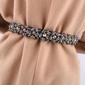 腰封 時尚黑色腰帶女裝飾腰封女水鉆配連身裙子水晶鬆緊彈力窄皮帶裙帶 零度3C