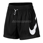 Nike 短褲 Sportswear Swoosh Women 黑 白 女款 大勾勾 高腰設計 柔款耐穿 【ACS】 AR3015-010