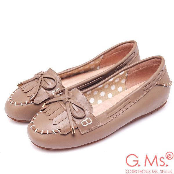 G.Ms. *  經典魅力-流蘇蝴蝶結羊皮莫卡辛豆豆鞋-可可亞