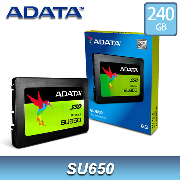 【免運費-加購】ADATA 威剛 SU650 240GB 2.5吋 SATA SSD 固態硬碟 / 3年保 240G 3D NAND TLC
