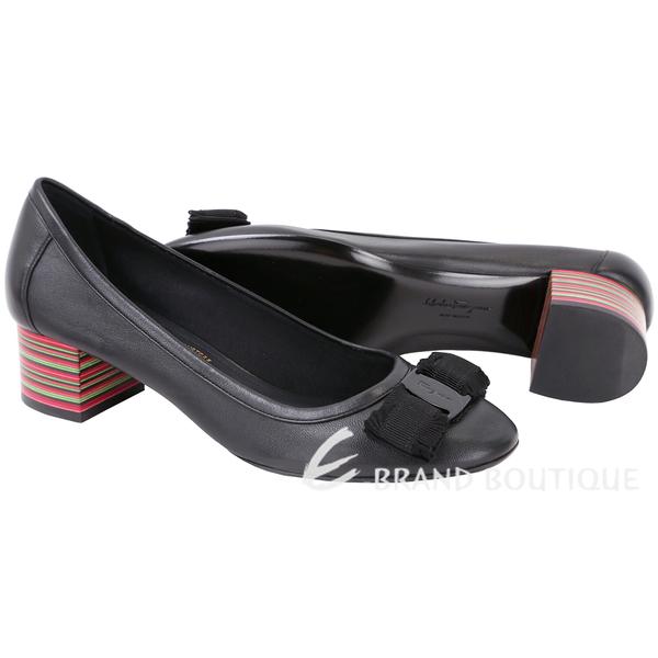 Salvatore Ferragamo Elvin40 蝴蝶結彩條紋粗跟鞋(黑色) 1720392-01