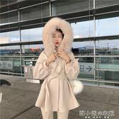 冬季可拆卸大毛領綁帶收腰氣質中長款呢子外套女韓版厚大衣     韓小姐