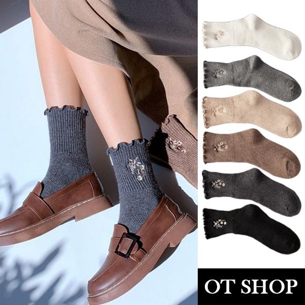 OT SHOP [現貨] 襪子 中筒襪 秋冬保暖 加厚 羊毛混紡 花朵刺繡 捲邊 學院風 日系百搭穿搭配件 M1107