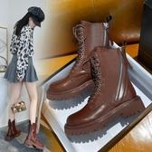 棕色馬丁靴女潮ins酷英倫風2021年新款厚底復古中筒靴短靴秋冬季 8號店