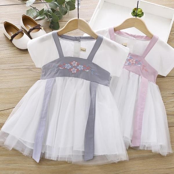 女童洋裝 女童漢服裙子2020夏季新款寶寶中國風刺繡復古連身裙兒童齊胸襦裙 店慶降價