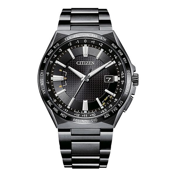 【台南 時代鐘錶 CITIZEN】星辰 鈦金屬 光動能電波 萬年曆 日期顯示 金屬錶帶男錶 CB0215-51E 黑 42.5mm