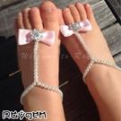 歐美熱銷 嬰兒珍珠鍊 花朵水鑽 腳飾 腳花 寶寶攝影 道具 腳環