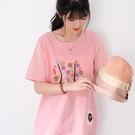 【慢。生活】小樹刺繡棉麻感休閒T恤 1506  FREE 粉紅色